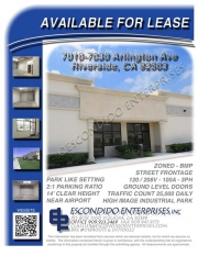 Brochure of multi-unit commercial space located at 7010, 7020, 7030 Arlington Ave, Riverside, CA, 92503