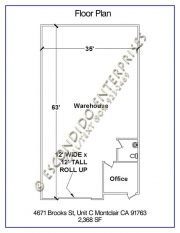 Floor plan of warehouse space located at 4671 & 4691 Brooks St, Units C or E, Montclair, CA 91763
