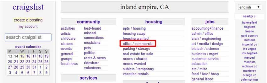 Image of craigslist, inland empire for commercial properties search link.