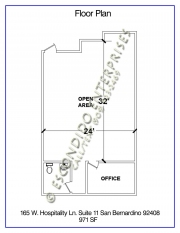 Floor plan of office space located at 165 W. Hospitality Lane, Suite 11, San Bernardino, CA 92408