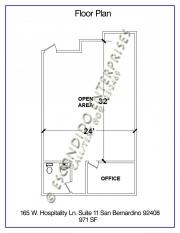 Floor plan of office space located at 165 W. Hospitality Lane, Suite 11, San Bernardino, CA 92408
