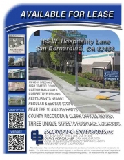 Brochure of multi-unit office space located at 165 W. Hospitality Lane, San Bernardino, CA 92408
