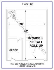 Floor plan of small industrial warehouse property located at 755, 775, 785, W. Rialto Ave, Rialto, CA, 92376